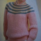 Vintage Wendy Lady's Striped Yoke Sweater Knitting Pattern 2295 S M L