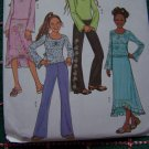 Uncut Girls Sewing Pattern 12 14 16 Pullover Top Elastic Waist Skirts Straight or Flounce Pants 4121