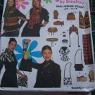 Juniors Sewing Patterns Vest Hats Scarf Mittens Purse Bracelet Choker Belt S M L 9511
