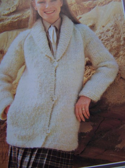 Wendy Knitting Patterns Free : Easy Vintage Wendy 2028 Shawl Collar Knit Sweater Jacket Knit Pattern