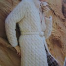 Vintage Lady's Cable Knit Wrap Jacket with Belt Knitting Pattern Bust 32 - 40""