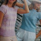 Vintage Misses Short Sleeve Lacy Knit Top Knitting Pattern Bust 32 34 36 38 40 42
