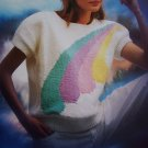 Misses Retro Knitting Pattern Short Sleeve Rainbow Design Sweater 5544
