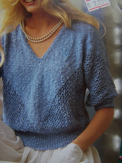 Summer Sweater Knitting Patterns : Vintage Ladies 3/4 Sleeve Filigree Summer Sweater Top KNitting Pattern 4854