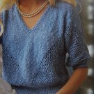 Vintage Ladies 3/4 Sleeve Filigree Summer Sweater Top KNitting Pattern 4854