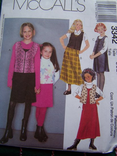 Children's Sewing Pattern 3342 Spaghetti Strap Jumper Dress Unlined Vest Girls 3 4 5 6