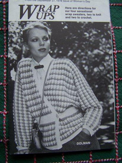 4 Vintage 70's Hippie Wrap Sweaters 2 Knitting 2 Crochet Patterns
