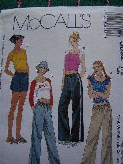 Girls Sewing Pattern 7 8 10 Summer Tops Drawstring Shorts or Pants Side Pockets 3692 McCall's Uncut