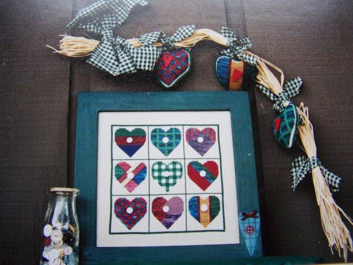 Buttoned Hearts Sampler Cross Stitch Chart Pattern Heart Ornaments