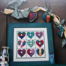 Buttoned Hearts Sampler Cross Stitch Chart Pattern Heart Ornaments