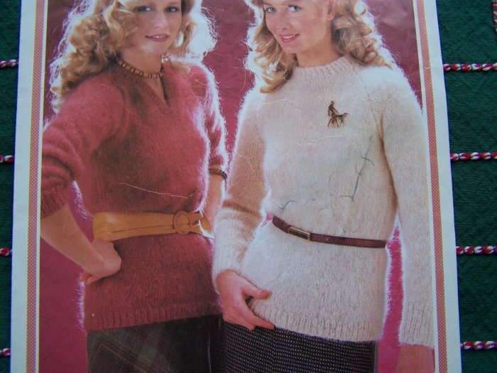 USA 1 Cent S&H Easy Vintage Mohair Knitting Patterns V or Round Neck Tunic Sweaters 1933