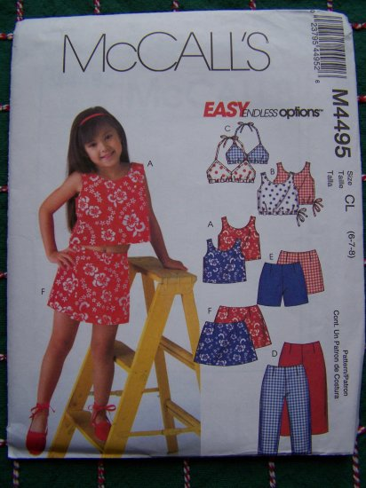 Girls 6 7 8 Summer Clothing Sewing Patterns Shirts Bikini Top Capri Pants Shorts Skort 4495
