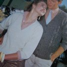 His and Hers V Neck Knit Cardigan Sweaters Patterns Shepherd 362