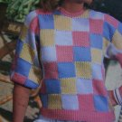 Vintage Misses Sirdar Knitting Pattern Checkerboard pullover Sweater 6576