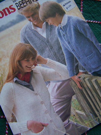 1 Cent USA S&H Vintage 80's Patons Beehive Knitting Patterns Family Cardigan Sweaters 1914