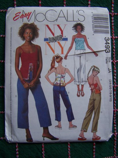 Juniors Easy Sewing Patterns 3493 Spaghetti Strap SUmmer Shirts Capri Crop Pants