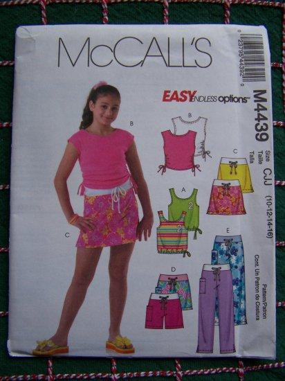 McCalls Girls Summer Wardrobe Sewing Pattern 10 12 14 16 Tops Skirt Shorts Pants 4439