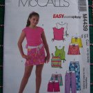 McCalls Girls Summer Wardrobe Sewing Pattern 10 12 14 16 Tops Skirt Shorts Pants 4439