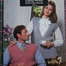 Mens or Ladys Coats & Clark Vintage Knitting Patterns Pullover Sleeveless V Neck Sweaters Leaflet