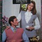 Mens or Ladys Coats & Clark Vintage Knitting Patterns Pullover Sleeveless V Neck Sweaters Leaflet