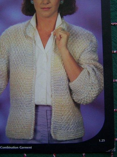 Vintage Lo Ran Ribbon & Yarn knitting Pattern Womens Open Knit Jacket S M L # 211