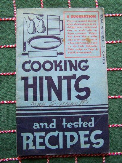 Vintage 1930's Vintage Cookbook Grandma's Country Crisco Baking Cakes Pies Pastry Cookies