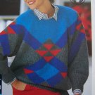 Vintage Lady's Fair Isle Pullover Raglan Sweater Knitting Pattern 1996
