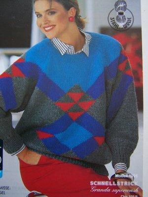 Vintage Lady's Fair Isle Pullover Raglan Sweater Knitting Pattern 1996
