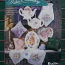 Bucilla Ribbon Embroidery Book Elegant Florals Teapots Frames Flower Hearts