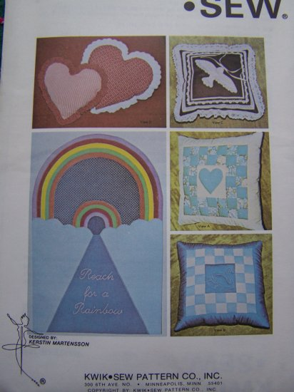 Vintage Pillow & Wall Hanging Sewing Patterns with Transfers Uncut Kwik Sew 1044