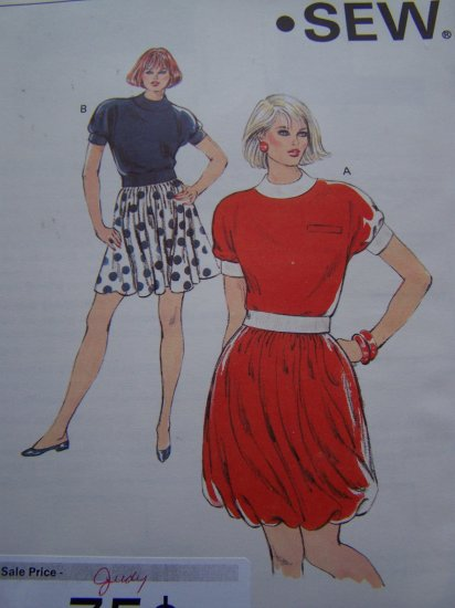 Retro Misses Sewing Pattern Twisted Bubble & Mini Skirt Cap Sleeve Top 1756 XS S M L