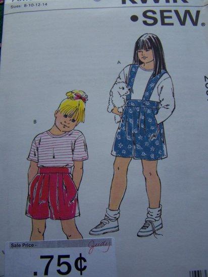 90's Kwik Sew Girls 8 10 12 14 Sewing Pattern Summer Top Shorts Optional Shoulder Straps 2051