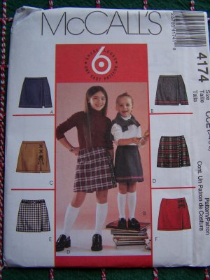 1 Cent Shipping USA Girls 3 4 5 6 Skort Sewing Patterns 6 Easy Skorts McCall's 4174 Uncut