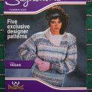 5 Vintage Knitting Patterns Womens Designer Sweaters Signature Leaflet 93544E