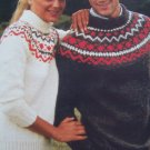 Retro 1980's Mens & Misses Knitting Patterns Bulky Decorative Yoke Pullover Sweaters