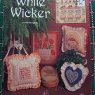 14 Vintage Cross Stitch Embroidery Patterns Book White Wicker # 34