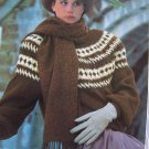 Lady's  Vintage Knitting Pattern Pullover Patterned Yoke Bulky Sweater Mod 1308