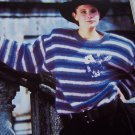 Retro Striped Pullover Sweater Hibiscus Flowers Knitting Ladys Pattern 1310