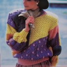 Womens Plus Size Knitting Pattern Country Patchwork Pullover Sweater Pattern 1322