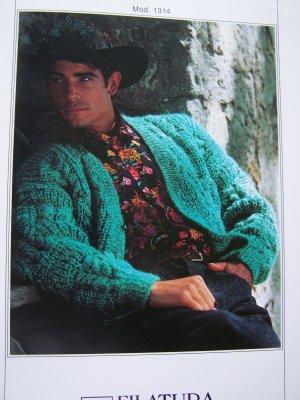 Di Crosa Italian KNitting Pattern Textured Cardigan Sweater 1314