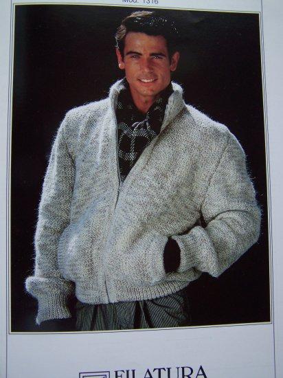 Xl Sweater Knitting Pattern : Men s xl xxl xxxl knitting pattern zip up cardigan sweater