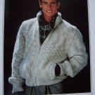 Men's XL XXL XXXL Knitting Pattern Zip Up Cardigan Sweater 1316
