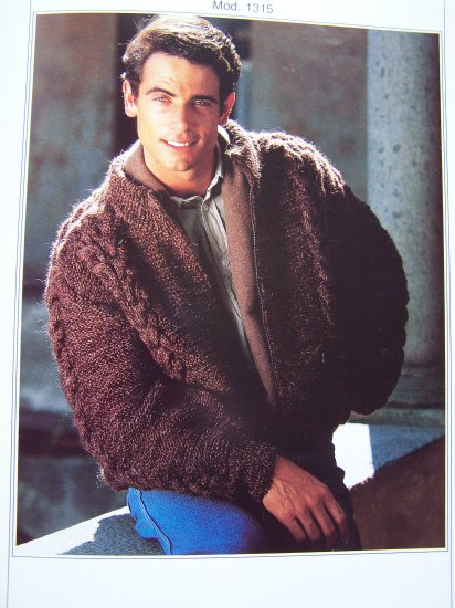 Knitting Pattern Zippered Cardigan : Mans Wool Knitting Pattern Zip Up Cardigan Sweater 1315