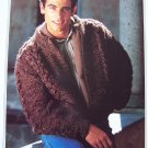 Mans Wool Knitting Pattern Zip Up Cardigan Sweater 1315