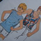 Vintage Boys 4 5 6 7 Sleeveless T Shirt or Tank Top Sewing Pattern 1868