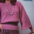 Womens Vintage Knitting Patterns Cable Rib & Square Neck Pullover Sweaters 399