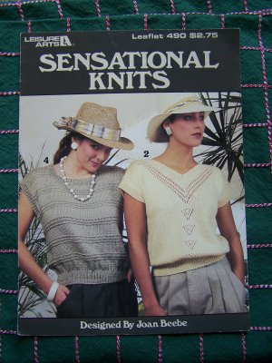 1 C USA S&amp;H Retro Misses SUmmer Knit Top Sweetheart V Scoop Square Neck Knitting Patterns 490