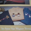 1 Cent USA S&H 12 Vintage Cross Stitch Patterns for Shirts Sweatshirts Sweaters