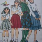 Vintage Girls Skirt Sewing Pattern A Line Ruffle Hem Elastic Waist 1197 Sz 8 10 12 14
