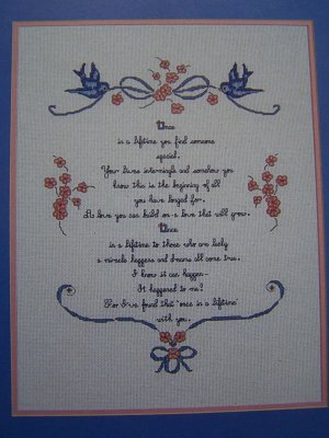Retro Love Letter Once in a Lifetime Embroidery Sampler Pattern 1 Cent S&H USA